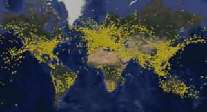 tráfego aéreo mundial